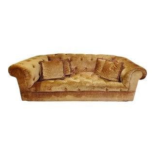 19th Century English Velvet Chesterfield Sofa For Sale