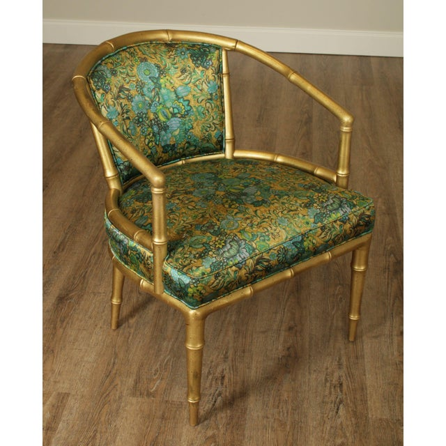 Hollywood Regency Faux Bamboo Mid Century Gilt Wood Barrel Back Armchairs - a Pair For Sale In Philadelphia - Image 6 of 13