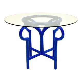 Modern Pencil Bamboo Center Table in Royal Blue Lacquer For Sale