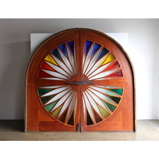 Monumental Stained Glass Sliding Doors Circa 1970 - a Pair For Sale - Image 13 of 13