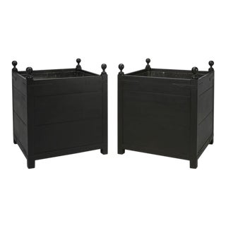 Pair of Vintage Orangerie Planters in Black For Sale