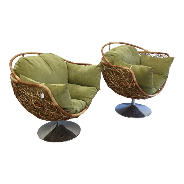 Wicker & Chrome Tulip Base Pod Lounge Chairs - a Pair For Sale