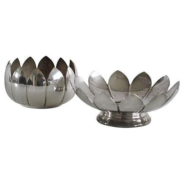 Nesting Silver Lotus Candleholder & Bowl - Image 3 of 4
