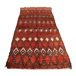 Vintage Moroccan Red Tribal Rug North Africa For Sale