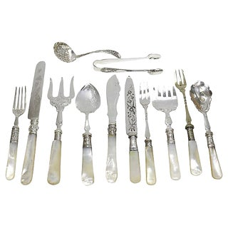 Antique English Pearl Handled Serving Set - 12 Pcs For Sale
