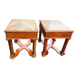 Pennsylvania House Cherry Wood and Marble End Tables-a Pair For Sale