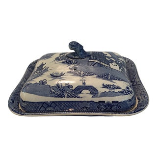 """Spode """"Parasol Figure"""" Blue and White Covered Vegetable Dish For Sale"""