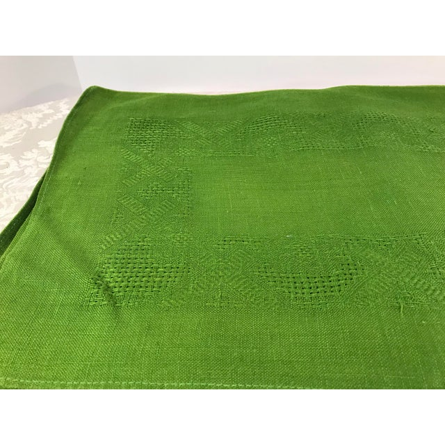 Vintage Lime Green Woven Placemats and Napkins - Set of 8 For Sale - Image 5 of 9