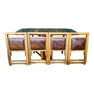 1980s Hollywood Regency Drop-Leaf Gate Legged Table With 4 Folding Chairs - 5 Pieces For Sale