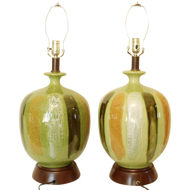 Mid-Century Modern Green Table Lamps - A Pair - Image 1 of 6
