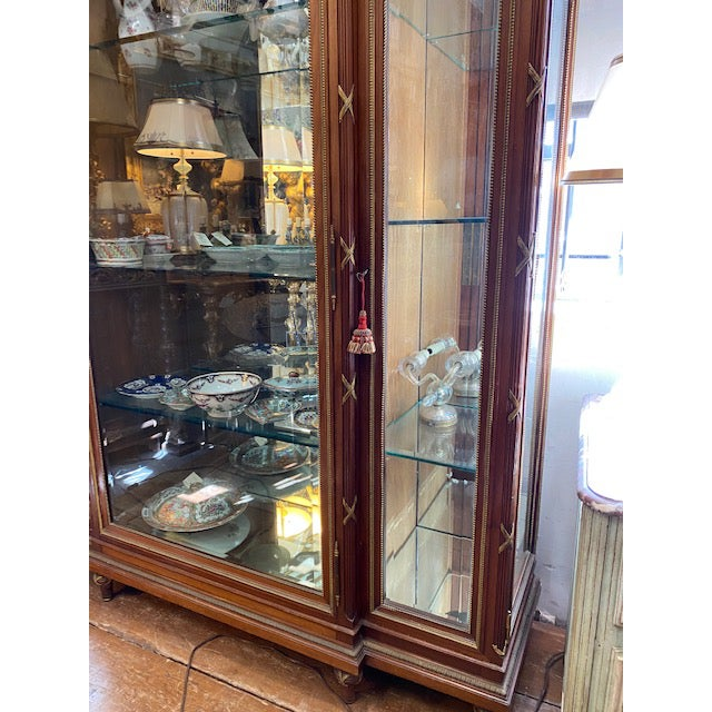 19th Century French Brozne Walnut and Bronze China Cabinet For Sale - Image 10 of 13