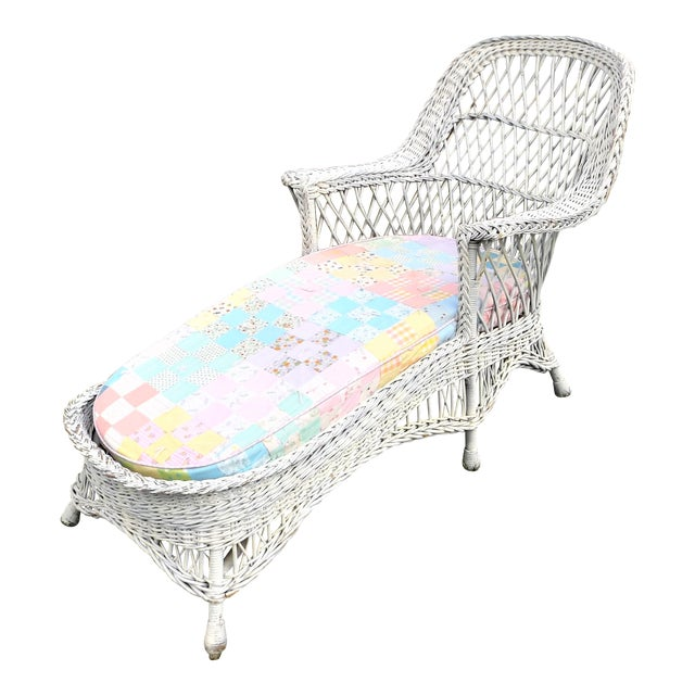 Vintage Wicker Chaise Lounge With Cushion | Chairish