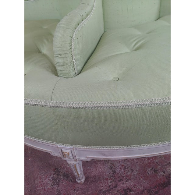 Louis XVI Style Fabulous Painted & Upholstered Round Settee For Sale In Los Angeles - Image 6 of 8