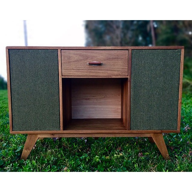 Mid-Century Modern Vinyl Record Console Credenza - Image 2 of 7