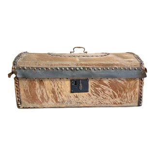 Late 19th Century Antique Handmade Hide Covered Pine Box For Sale