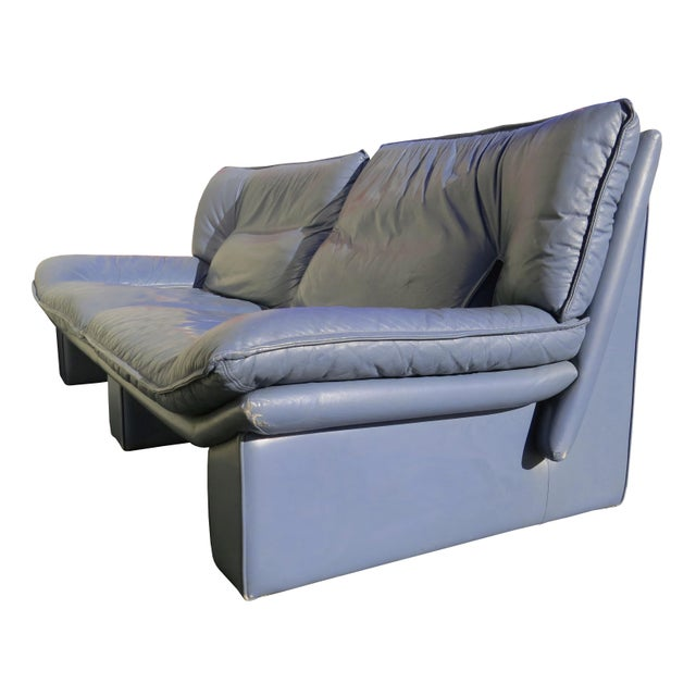 1970s 1970's Modern Nicoletti Salotti Leather Sofa and Lounge Chair- 2 Pieces For Sale - Image 5 of 13