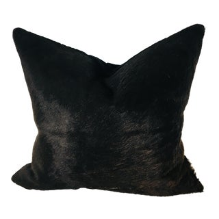 Natural Black Cowhide Vintage Pillow For Sale