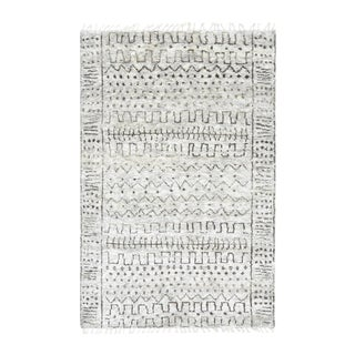Inka, Bohemian Tribal Hand-Knotted Area Rug, Silver, 8 X 10 For Sale