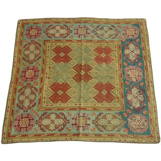 Antique 1900s English Needlework Rug - 6′3″ × 6′3″ a For Sale