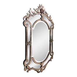 1950 Vintage Italian Venetian Glass Wall Mirror For Sale