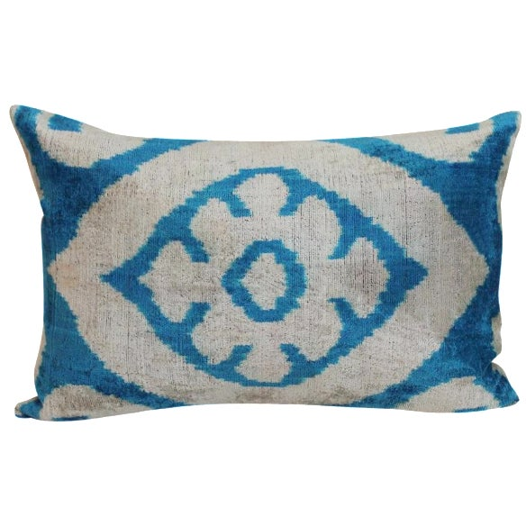 Blue & Beige Allary Silk Velvet Ikat Pillow - Image 1 of 2