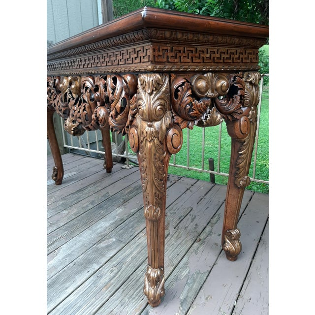 Vintage Theodore Alexander Althorp Carved Wood Gilded Console Table For Sale - Image 6 of 13