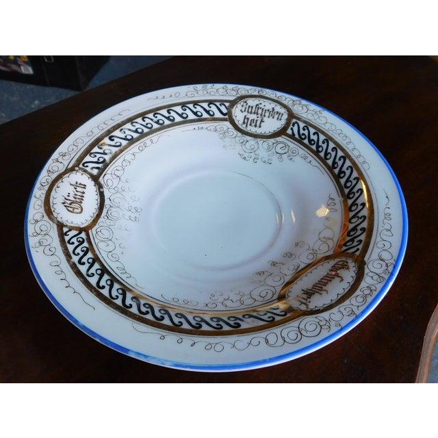 Antique German Victorian Porcelain Dem Hausherrn Decorated Cup & Saucer C1900 For Sale - Image 4 of 9