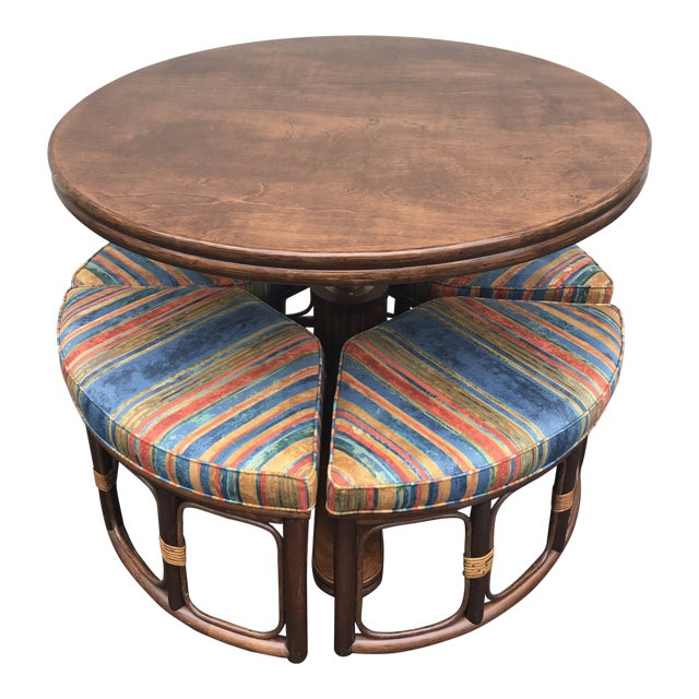 1970's Vintage Walnut Adjustable Games Table & Stools- 5 Pieces For Sale