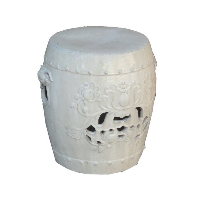 Chinese Clay White Lotus Garden Stool/Ottoman - Image 4 of 7