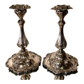 Pair of Antique Victorian Silver Plated Candlesticks For Sale