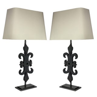 Pair of Architectural Table Lamps For Sale