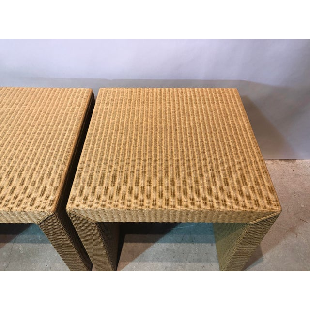 Traditional Janus Et Cie Wicker Tables - a Pair For Sale - Image 3 of 7