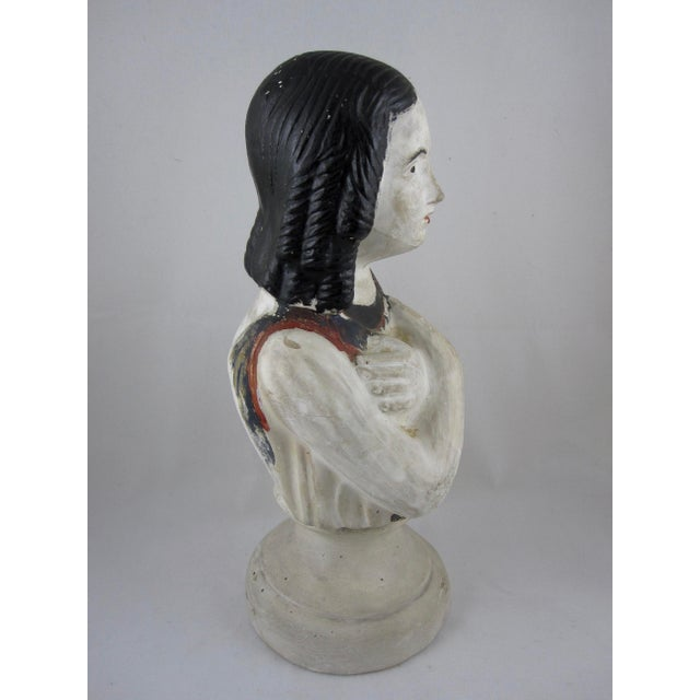 Red 19th Century Pennsylvania Hand-Painted Folk Art Chalkware Female Bust For Sale - Image 8 of 9