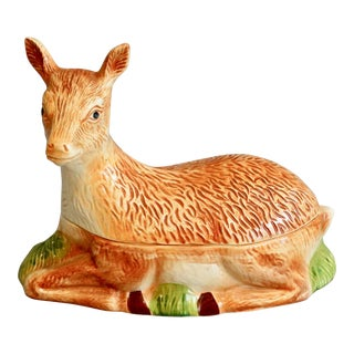 French Majolica Deer Pâté Tureen For Sale