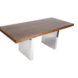 Rosewood and Chrome Executive Desk by Roger Sprunger for Dunbar For Sale