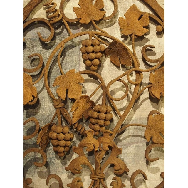 Decorative Oval Iron Wall Hanging With Scrolling Grape Vines For Sale - Image 9 of 11