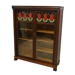 Larkin & Co Antique Quartersawn Oak Bookcase For Sale