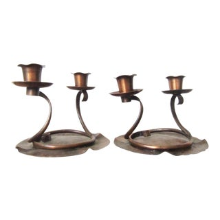 1940s Arts and Crafts Craftsman Studios Copper Candleholders - a Pair For Sale