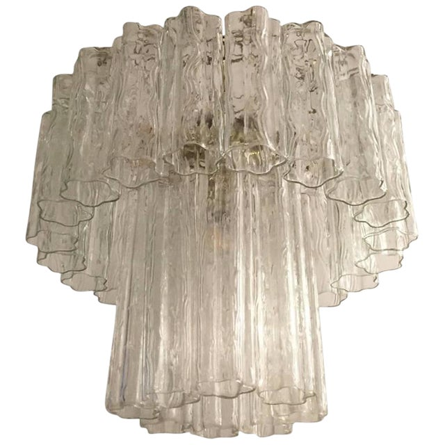 Mid-Century Italian Tronchi Glass Chandelier For Sale