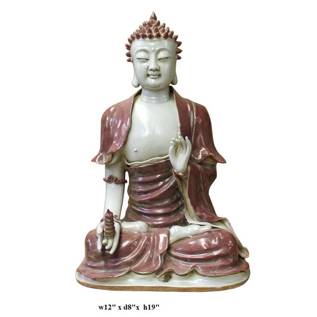 Ceramic Vintage Chinese Red Glaze Porcelain Sitting Buddha with Tower Statue For Sale - Image 7 of 7