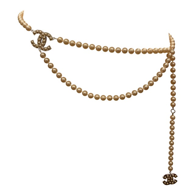 """Chanel White Gold Tone """"Pearl"""" Belt, 2008 For Sale"""