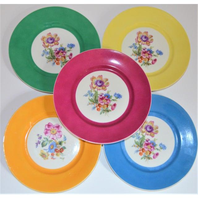 Boho Chic Vintage Richard Ginori Italian Botanical Porcelain Plates - Set of 5 For Sale - Image 3 of 12