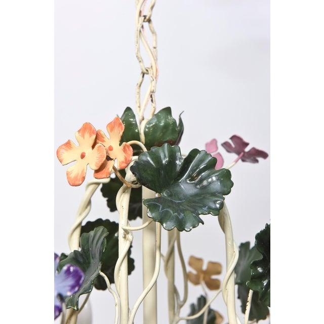 Italian Multicolor Tole Flower Chandelier For Sale - Image 3 of 4