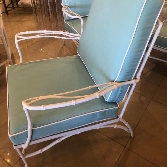 Vintage Sunbrella Faux Bamboo Powder-Coated Metal Lounge Patio Chairs - Set of 3 For Sale - Image 12 of 13