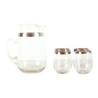 Mid Century Modern Dorothy Thorpe Silver Rimmed Glass Pitcher & Glasses - Set of 5 For Sale
