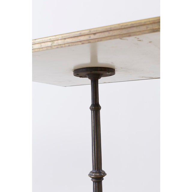 Gold French Bronzed Iron and Faux Marble Bistro Table For Sale - Image 8 of 13