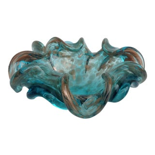 Italian Murano Sommerso Ruffled Bowl For Sale