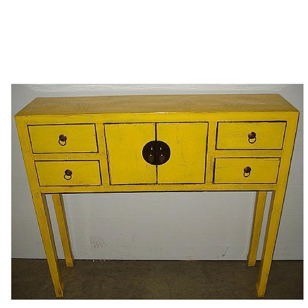 "A daffodil yellow Art Deco desk. Circa: New. Dimensions: L 39.25"" x W 9.75"" x H 35.5"" Also available in Apple Green, China..."