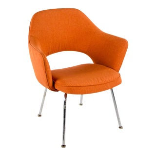Saarinen by Knoll Executive Open Back Orange Arm Chair For Sale