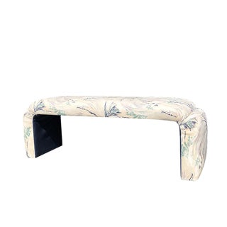 Blue Green Cream and Pastel Pink Mid-Century Modern Milo Baughman Waterfall Bench or Ottoman For Sale